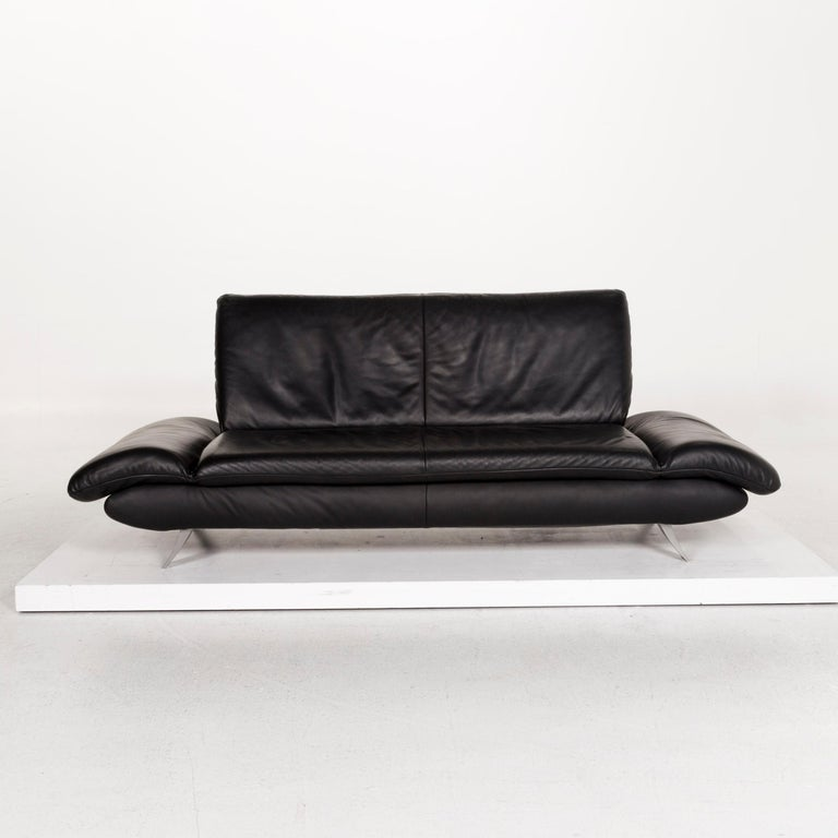 We bring to you a Koinor Rossini leather sofa set black 1 three-seat 1 two-seat.      Product measurements in centimeters:    Depth 86 Width 220 Height 84 Seat-height 41 Rest-height 42 Seat-depth 55 Seat-width 141 Back-height 43.