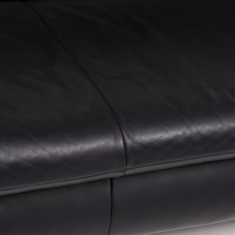 German Koinor Rossini Leather Sofa Set Black 1 Three-Seat 1 Two-Seat For Sale
