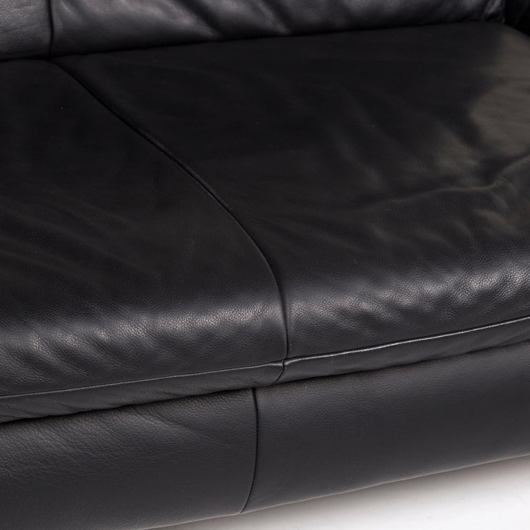 Koinor Rossini Leather Sofa Set Black 1 Three-Seat 1 Two-Seat In Good Condition For Sale In Cologne, DE
