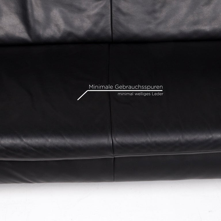 Contemporary Koinor Rossini Leather Sofa Set Black 1 Three-Seat 1 Two-Seat For Sale