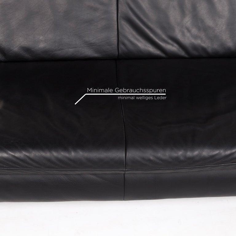 Koinor Rossini Leather Sofa Set Black 1 Three-Seat 1 Two-Seat For Sale 1