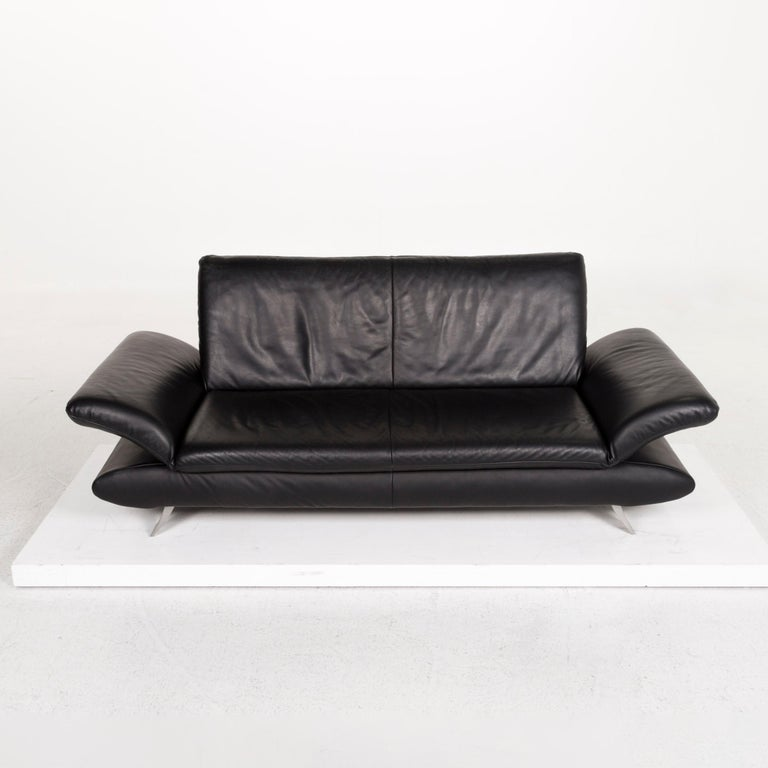 Koinor Rossini Leather Sofa Set Black 1 Three-Seat 1 Two-Seat For Sale 3