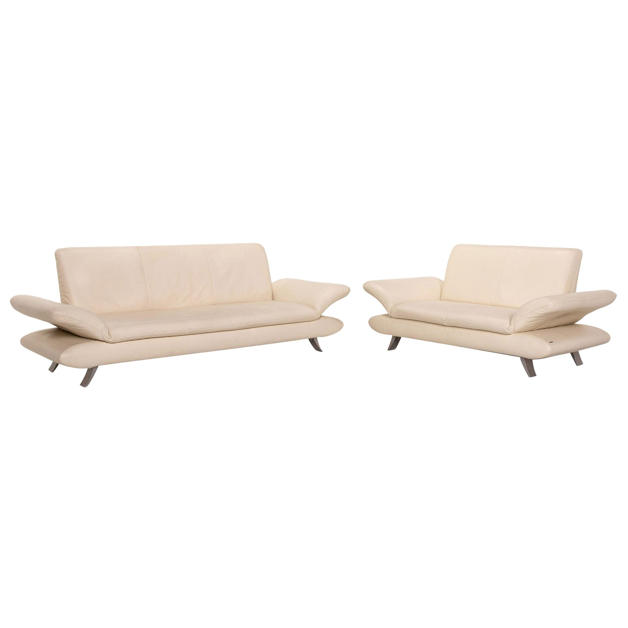 Koinor Rossini Leather Sofa Set Cream 1 Three-Seater 1 Two-Seater Function