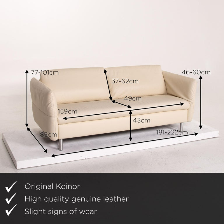 We present to you a Koinor Vittoria plumas azules, and plumas colores, set leather sofa cream two-seat couch.     Product measurements in centimeters:    Depth 83 Width 181 Height 77 Seat height 43 Rest height 46 Seat depth 49 Seat