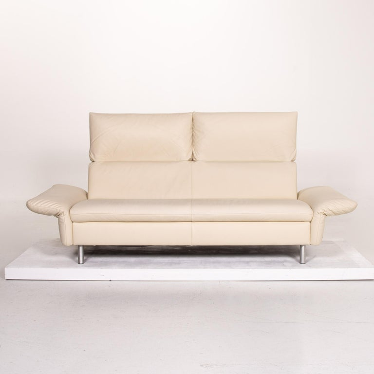 Modern Koinor Vittoria Leather Sofa Cream Two-Seat Couch