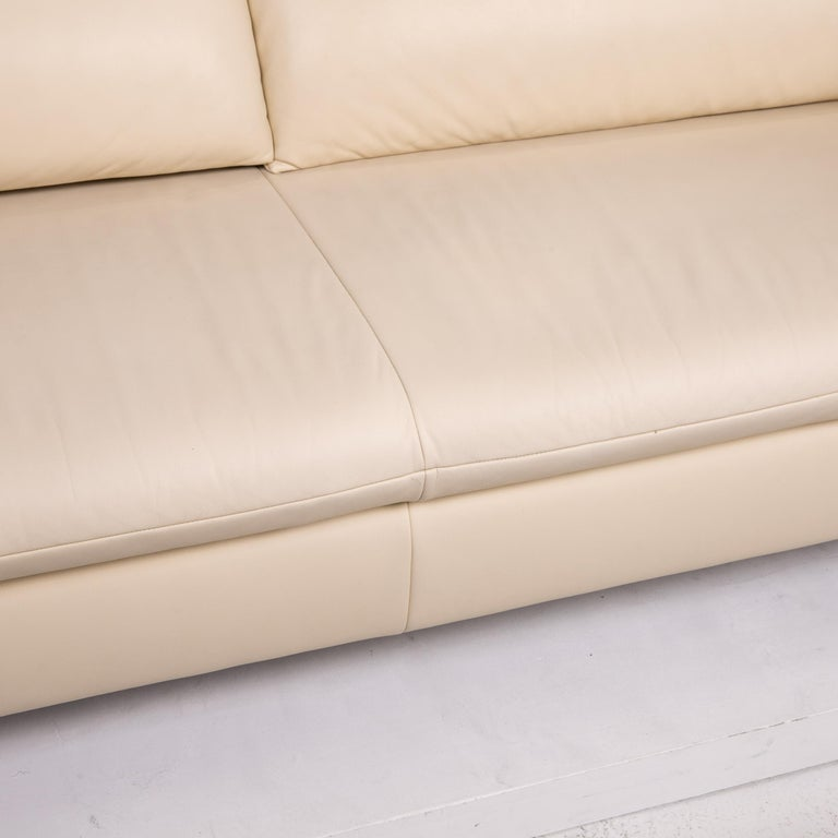 German Koinor Vittoria Leather Sofa Cream Two-Seat Couch