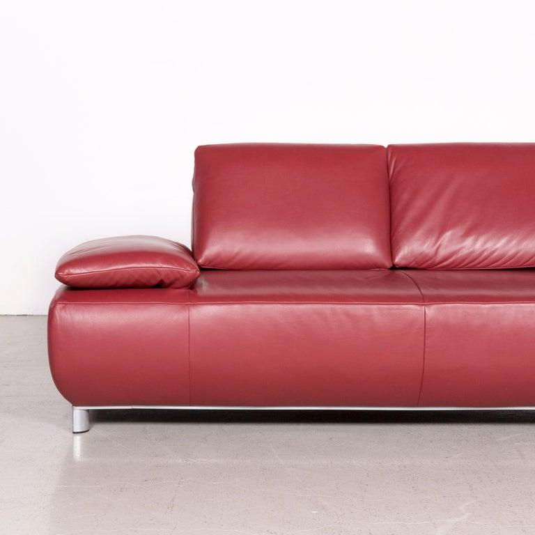 Koinor Volare Designer Leather Sofa Red Genuine Leather ...