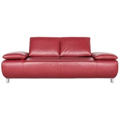 Koinor Volare Designer Leather Sofa Red Genuine Leather Three-Seat Couch