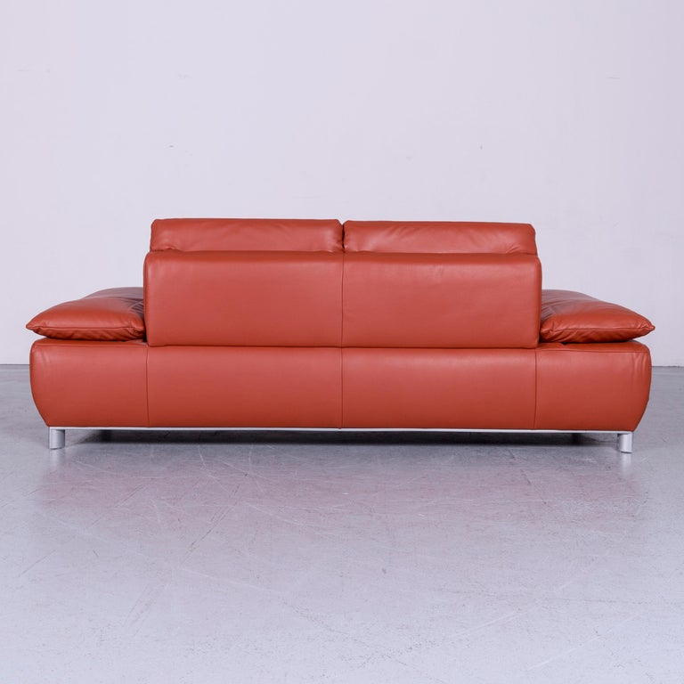 Koinor Volare Designer Leather Sofa Red Three-Seat Couch with Function 5