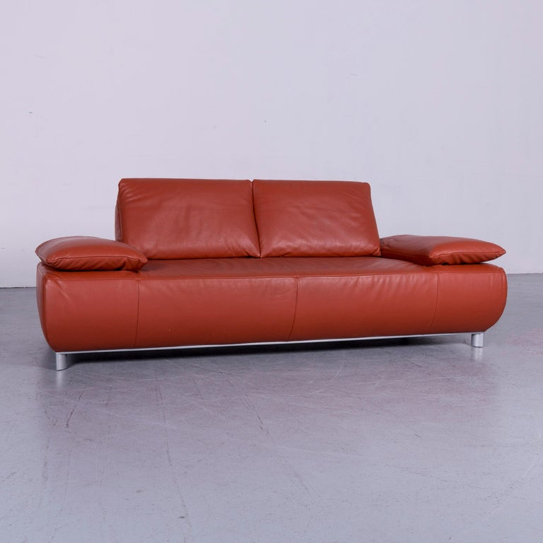 German Koinor Volare Designer Leather Sofa Red Three-Seat Couch with Function