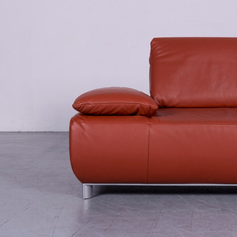 Koinor Volare Designer Leather Sofa Red Three-Seat Couch with Function In Good Condition In Cologne, DE