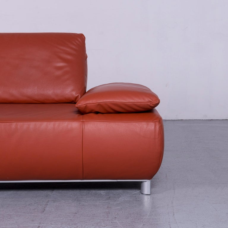Contemporary Koinor Volare Designer Leather Sofa Red Three-Seat Couch with Function
