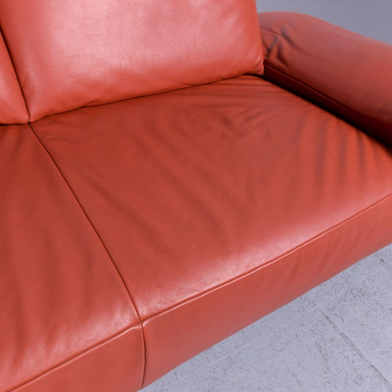 Koinor Volare Designer Leather Sofa Red Three-Seat Couch with Function 1