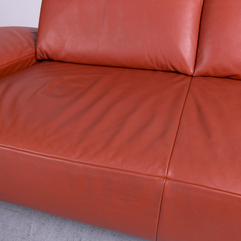 Koinor Volare Designer Leather Sofa Red Three-Seat Couch with Function 2