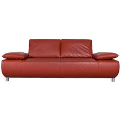 Koinor Volare Designer Leather Sofa Red Three-Seat Couch with Function