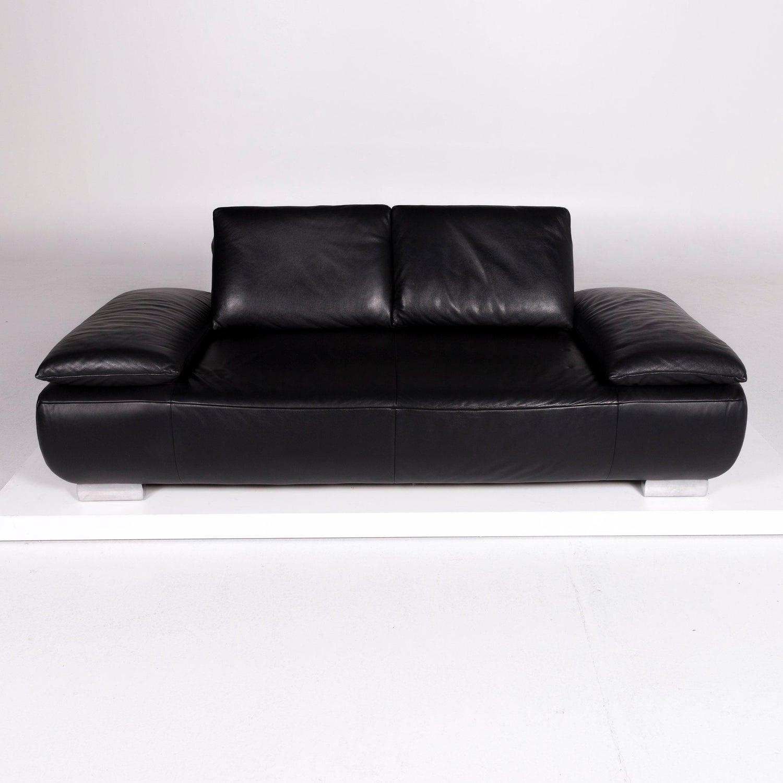 Koinor Volare Designer Leder Sofa Schwarz Zweisitzer 12
