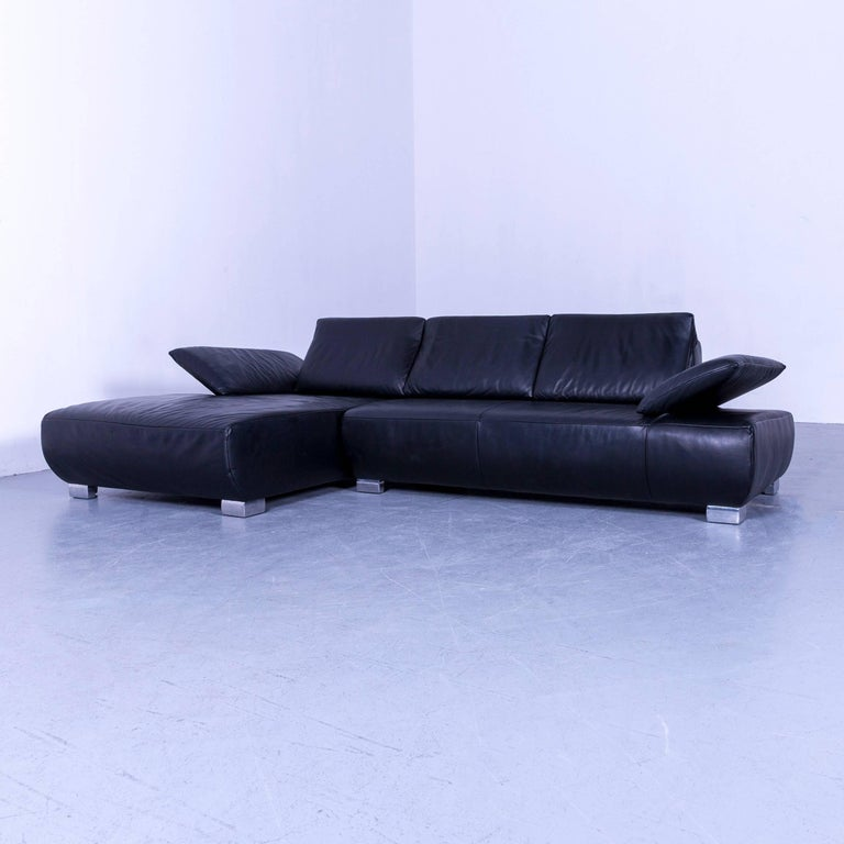 Koinor Volare Leather Corner Sofa Black Couch At 1stdibs