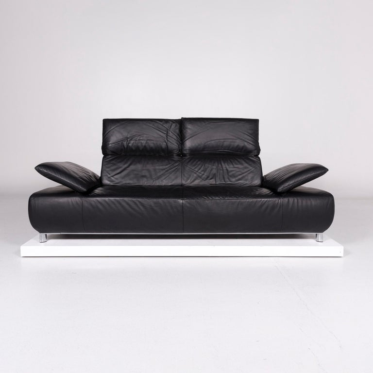 Koinor Volare Leather Sofa Black Three-Seat Function Couch