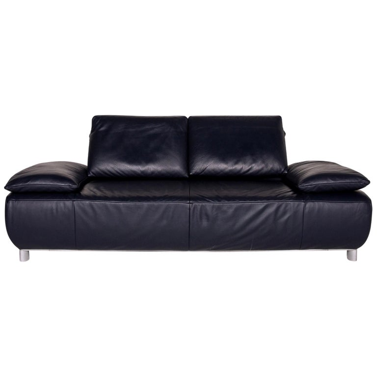 Koinor Volare Leather Sofa Blue Dark Blue Three-Seat Function Couch