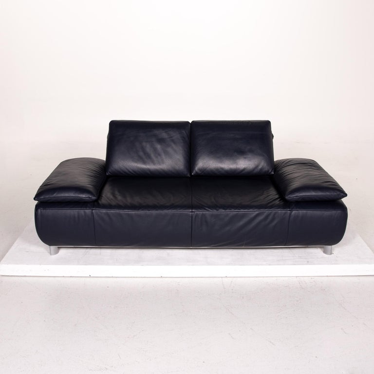 Koinor Volare Leather Sofa Blue Dark Blue Three-Seat Function Couch 4