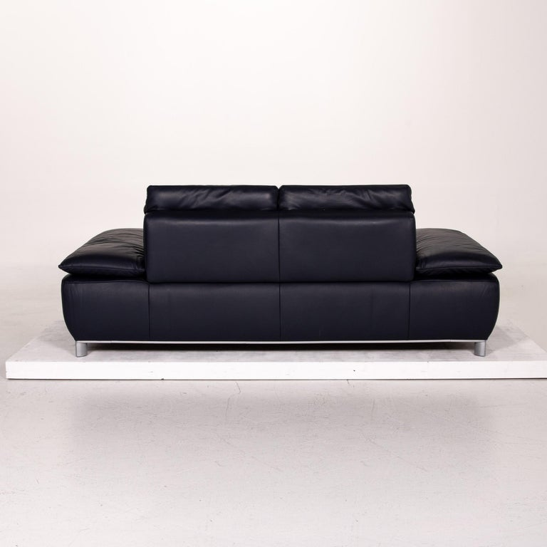 Koinor Volare Leather Sofa Blue Dark Blue Three-Seat Function Couch 6
