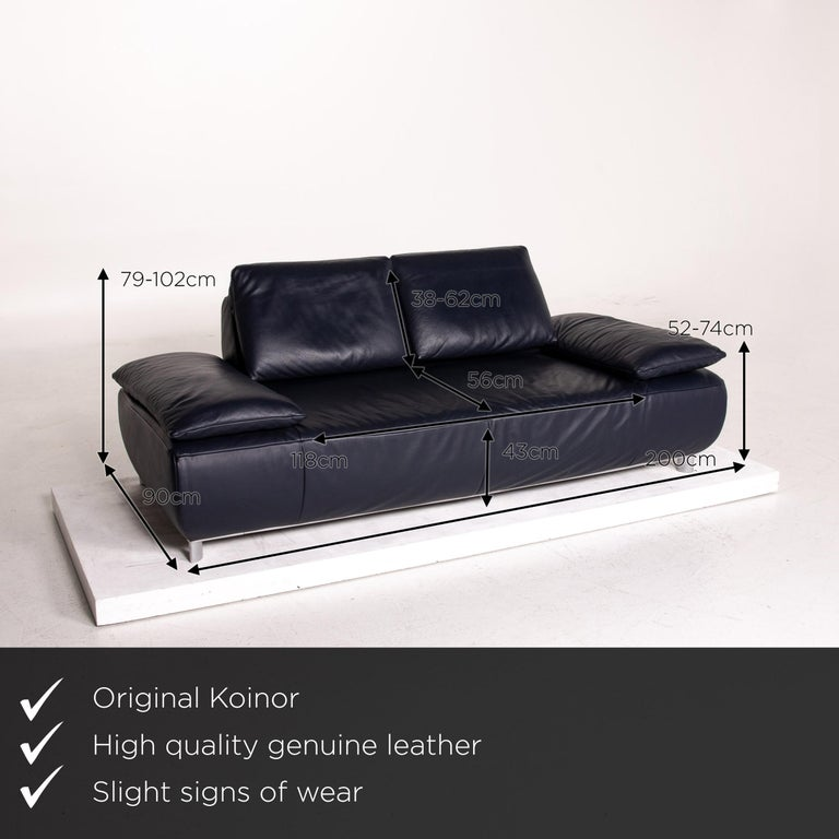 We present to you a Koinor Volare leather sofa blue dark blue three-seat function couch.    Product measurements in centimeters:    Depth 90 Width 200 Height 79 Seat height 43 Rest height 52 Seat depth 56 Seat width 118 Back height