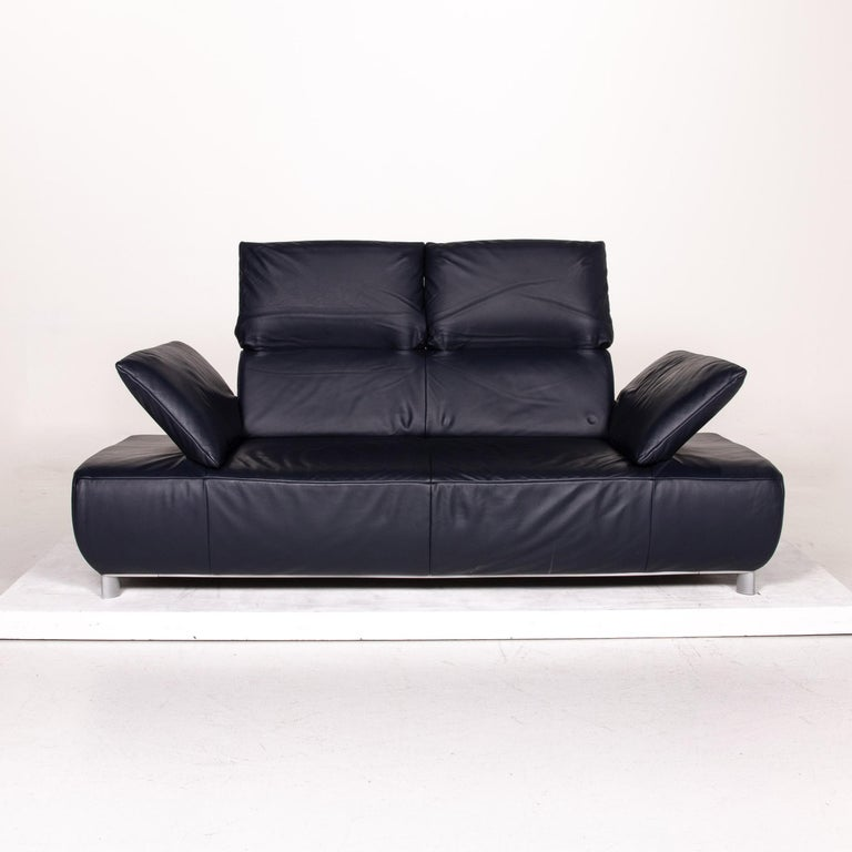 Modern Koinor Volare Leather Sofa Blue Dark Blue Three-Seat Function Couch