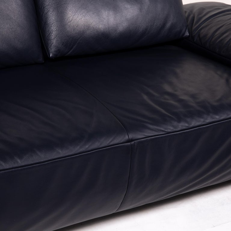 German Koinor Volare Leather Sofa Blue Dark Blue Three-Seat Function Couch