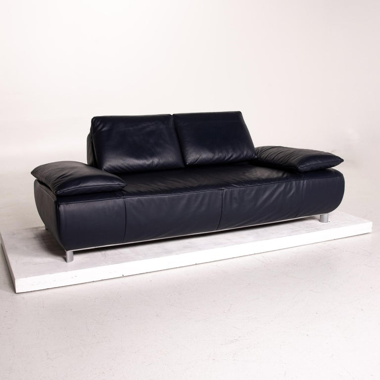 Koinor Volare Leather Sofa Blue Dark Blue Three-Seat Function Couch 3