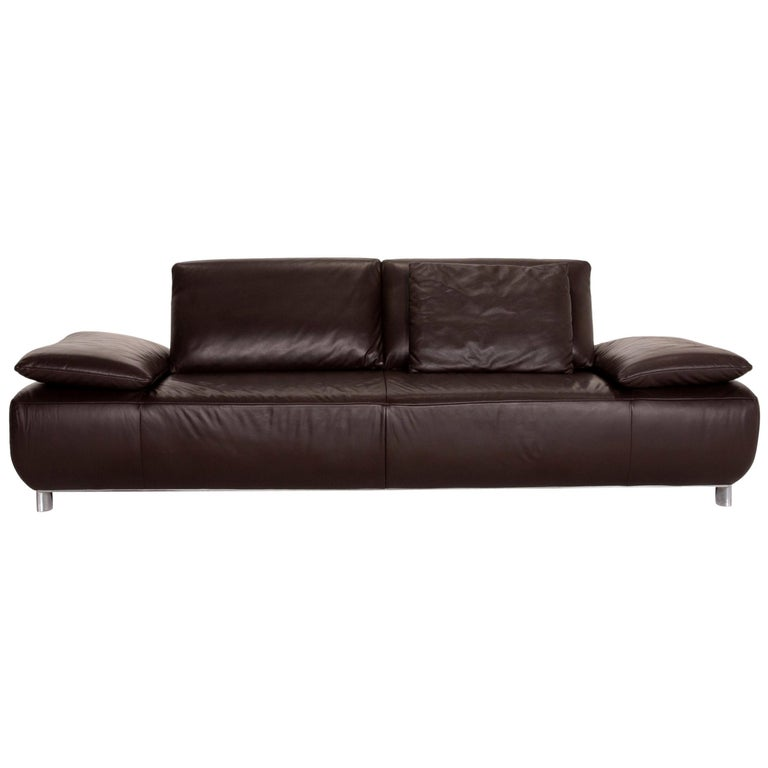 Koinor Volare Leather Sofa Brown Dark Brown Three-Seat Function Couch
