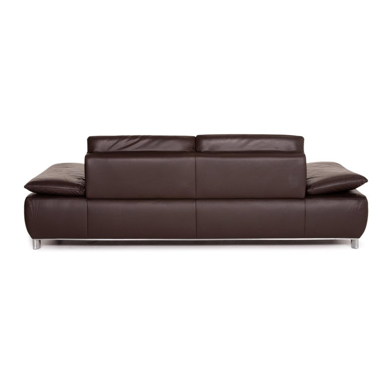 Koinor Volare Leather Sofa Brown Dark Brown Three-Seat Function Couch 4