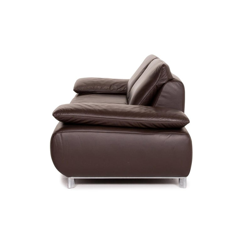 Koinor Volare Leather Sofa Brown Dark Brown Three-Seat Function Couch 5