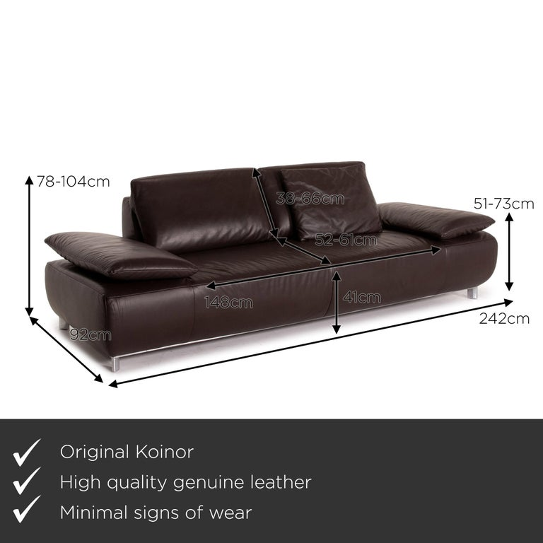 We present to you a Koinor Volare leather sofa brown dark brown three-seat function couch.     Product measurements in centimeters:    Depth 92 Width 242 Height 78 Seat height 41 Rest height 51 Seat depth 52 Seat width 148 Back height