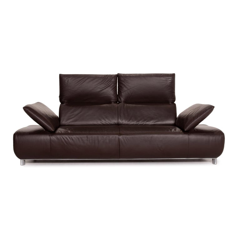 Modern Koinor Volare Leather Sofa Brown Dark Brown Three-Seat Function Couch
