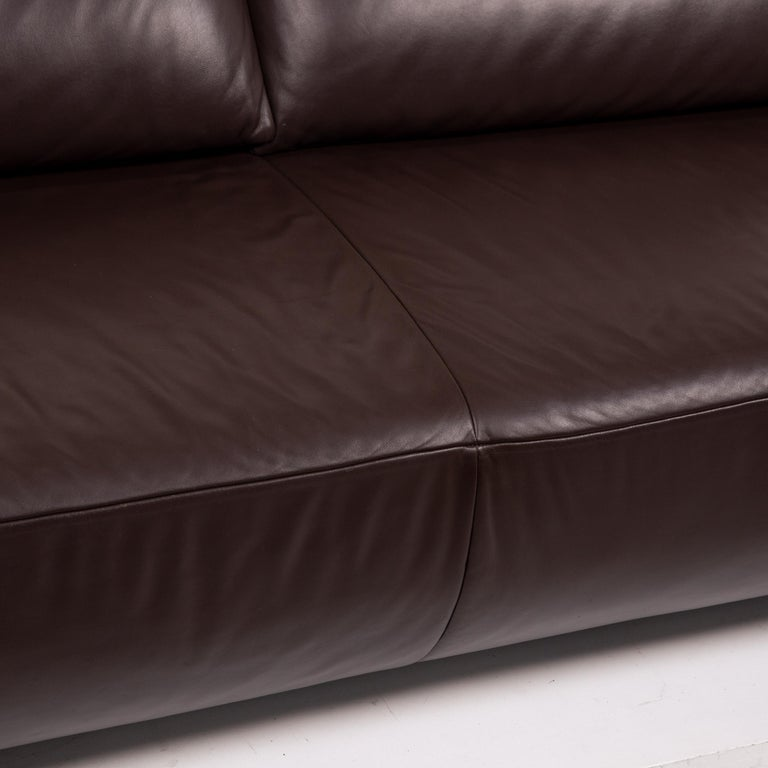 German Koinor Volare Leather Sofa Brown Dark Brown Three-Seat Function Couch