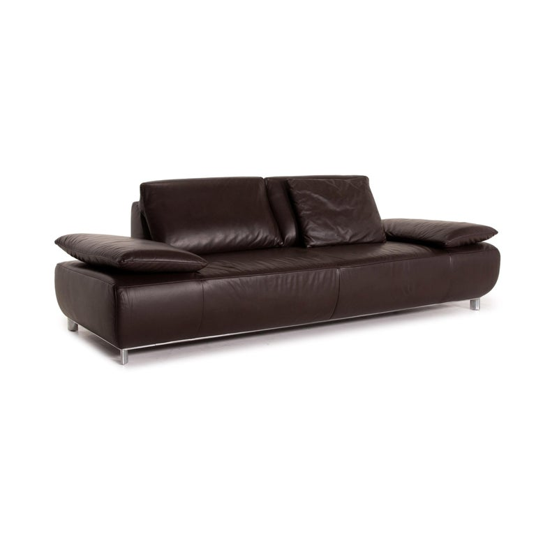 Koinor Volare Leather Sofa Brown Dark Brown Three-Seat Function Couch 1
