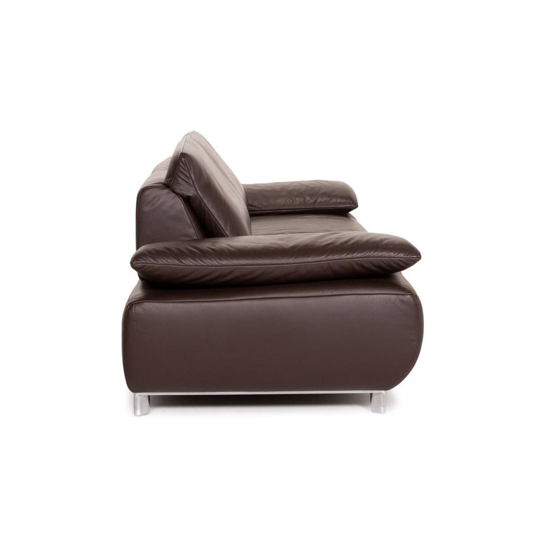 Koinor Volare Leather Sofa Brown Dark Brown Three-Seat Function Couch 3