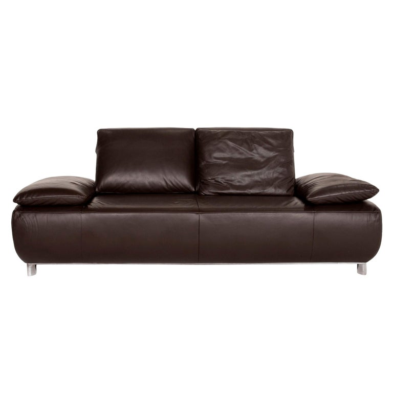 Koinor Volare Leather Sofa Brown Dark Brown Two-Seat Function Couch