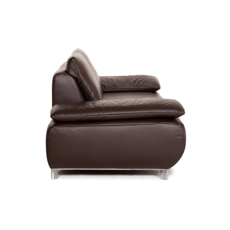 Koinor Volare Leather Sofa Brown Dark Brown Two-Seat Function Couch 4