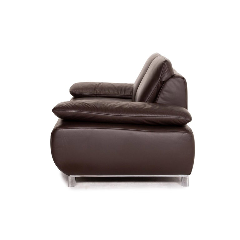 Koinor Volare Leather Sofa Brown Dark Brown Two-Seat Function Couch 6