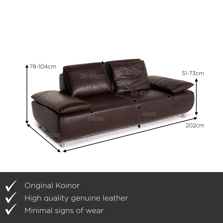 We present to you a Koinor Volare leather sofa brown dark brown two-seat function couch.       Product measurements in centimeters:    Depth 92 Width 202 Height 78 Seat height 41 Rest height 51 Seat depth 52 Seat width 119 Back height