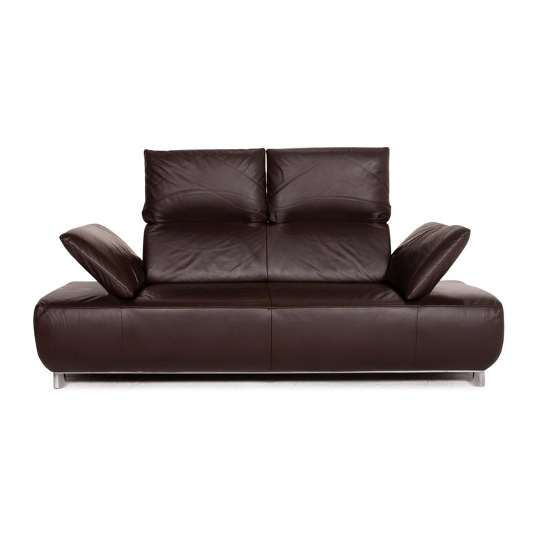 Modern Koinor Volare Leather Sofa Brown Dark Brown Two-Seat Function Couch
