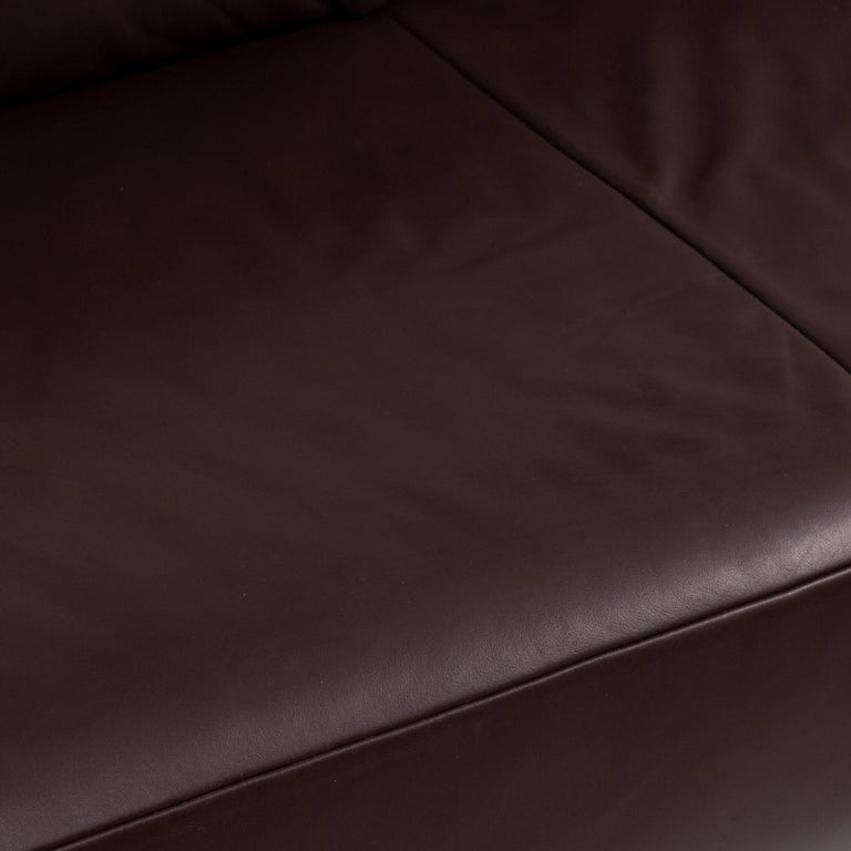 German Koinor Volare Leather Sofa Brown Dark Brown Two-Seat Function Couch