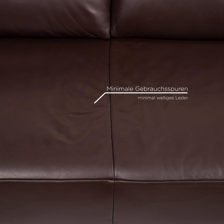 Koinor Volare Leather Sofa Brown Dark Brown Two-Seat Function Couch In Good Condition In Cologne, DE