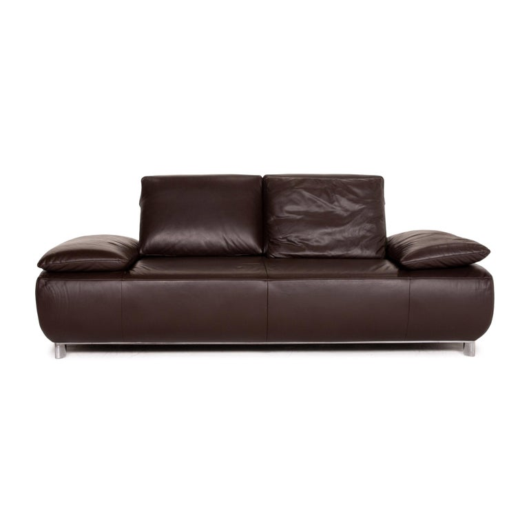 Koinor Volare Leather Sofa Brown Dark Brown Two-Seat Function Couch 1