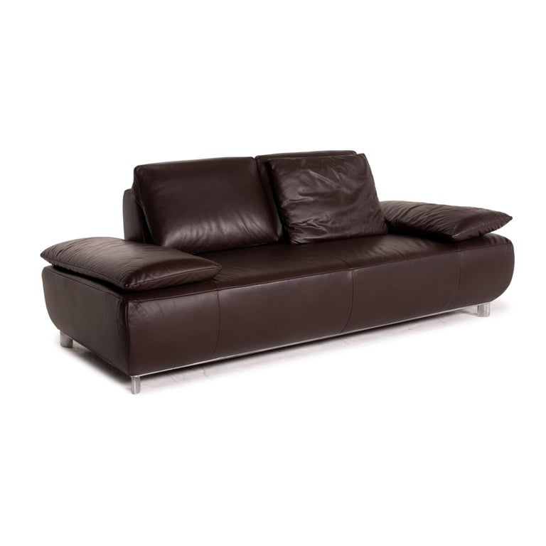 Koinor Volare Leather Sofa Brown Dark Brown Two-Seat Function Couch 2