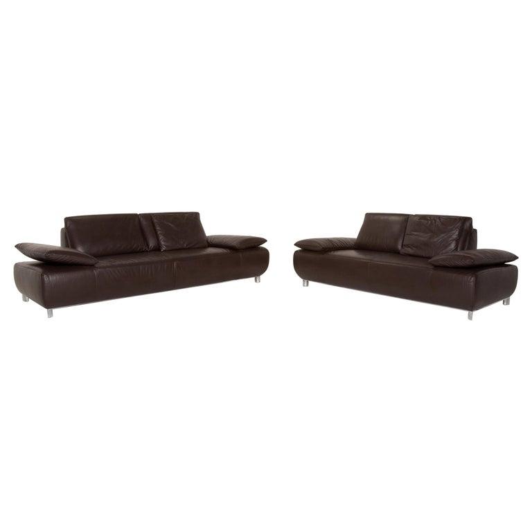 Koinor Volare Leather Sofa Set Brown Dark Brown 1 Three-Seat 1 Two-Seat