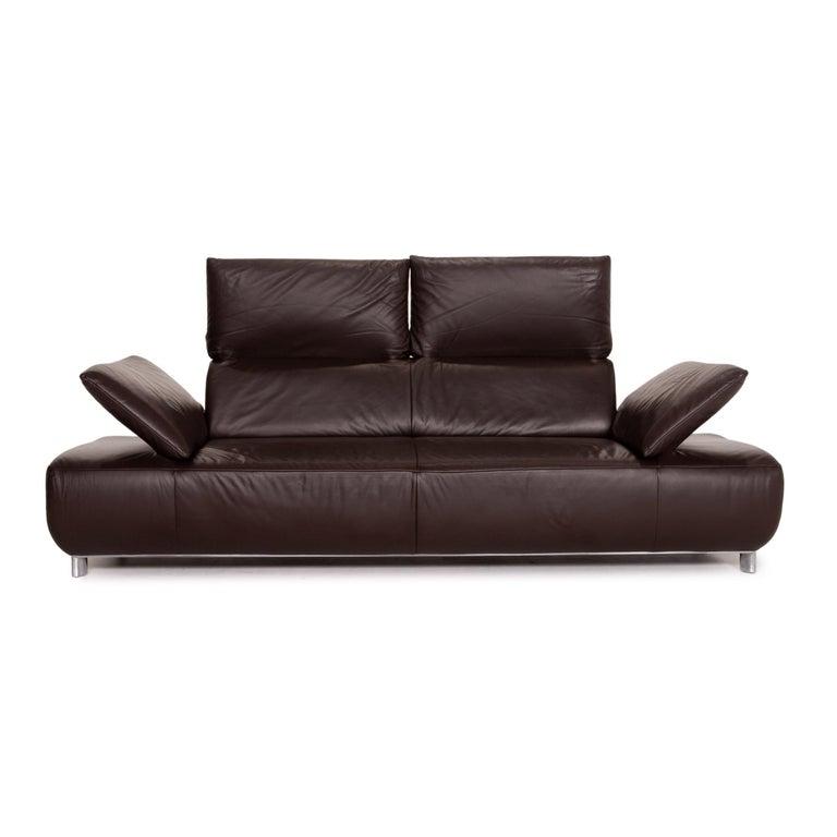 German Koinor Volare Leather Sofa Set Brown Dark Brown 1 Three-Seat 1 Two-Seat