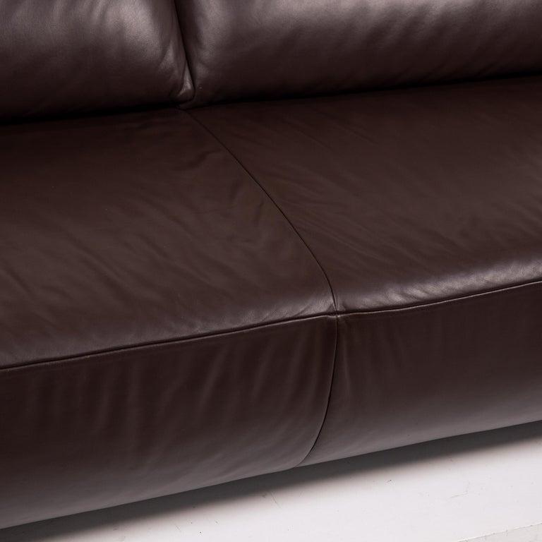 Contemporary Koinor Volare Leather Sofa Set Brown Dark Brown 1 Three-Seat 1 Two-Seat