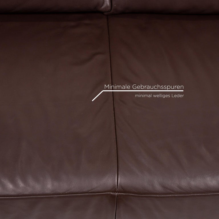Koinor Volare Leather Sofa Set Brown Dark Brown 1 Three-Seat 1 Two-Seat 2